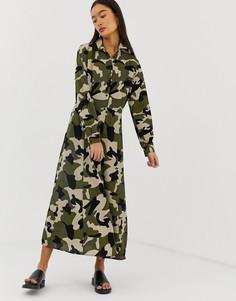 Платье-рубашка макси с камуфляжным принтом b.Young - Мульти