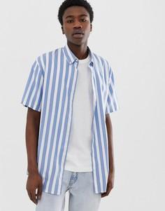 Голубая рубашка в полоску с короткими рукавами Weekday Jacob - Синий