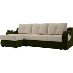 Угловой диван АртМебель Меркурий вельвет бежевый/зеленыйлевый угол
