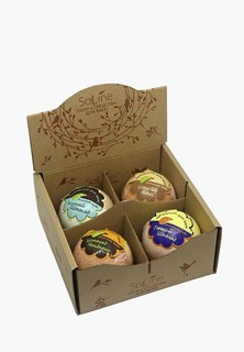 """Набор для ванны и душа Solline - ароматическая соль """"Chocolate bath"""" (Шоколадные ванны) с маслом какао из 4-х шаров"""