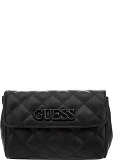 Стеганая поясная сумка черного цвета Guess