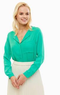 Зеленая блуза на пуговицах с карманом Selected