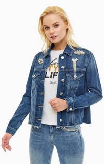 Джинсовая куртка с карманами и брошами Liu Jo