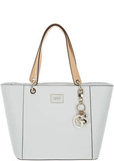 Белая сумка с одним отделом на молнии Guess