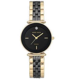 Кварцевые часы с черным циферблатом Anne Klein
