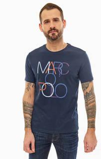 Синяя хлопковая футболка с принтом Marc Opolo