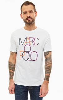 Белая хлопковая футболка с принтом Marc Opolo