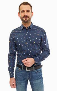 Синяя приталенная рубашка из хлопка Selected