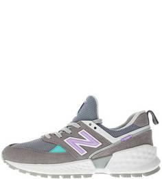 Летние кроссовки серого цвета из текстиля и замши 574 New Balance