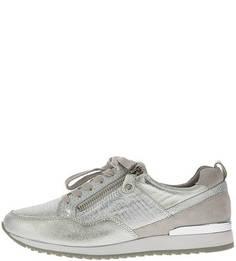 Кожаные кроссовки серебристого цвета Caprice