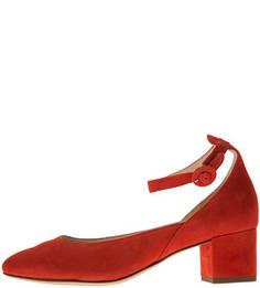 Замшевые красные туфли на каблуке Hogl