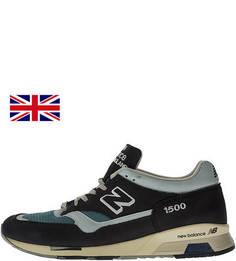Синие кроссовки из нубука с текстильными вставками New Balance