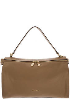 Вместительная кожаная сумка коричневого цвета Atsuko Coccinelle