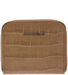 Коричневый кожаный кошелек с выделкой под рептилию Metallic Croco Coccinelle