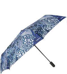 Складной автоматический зонт с куполом синего цвета Labbra
