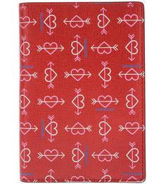 Красная кожаная обложка Travel Items Heart Print Coccinelle