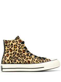 Converse высокие кеды с леопардовым принтом