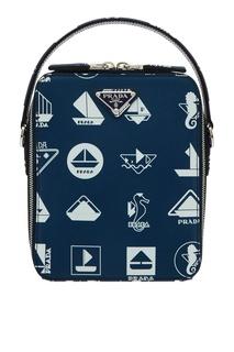 Синяя сумка-мессенджер с принтом Brique Prada