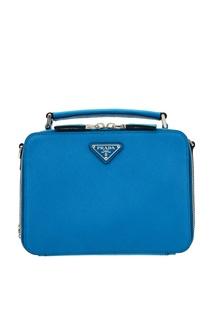Компактная голубая сумка Brique Prada