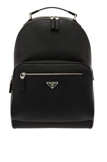 Кожаный рюкзак с треугольным логотипом Prada