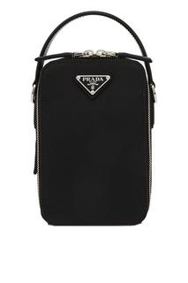 Черная мини-сумка из сафьяновой кожи Prada