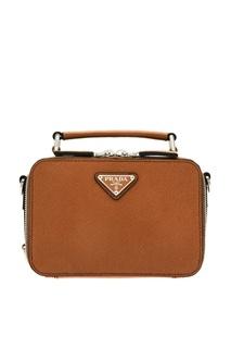 Компактная коричневая сумка Brique Prada