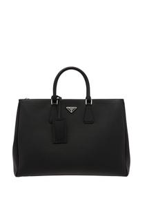 Черная кожаная сумка Prada Galleria
