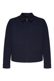Синяя поплиновая куртка Prada