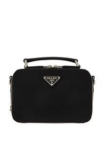 Компактная сумка из черной сафьяновой кожи Prada