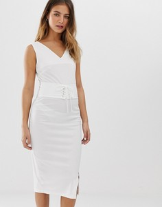 Платье без рукавов с отделкой на талии Glamorous - Белый