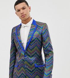 Приталенный жаккардовый пиджак-смокинг с разноцветным зигзагообразным рисунком ASOS EDITION Tall - Синий