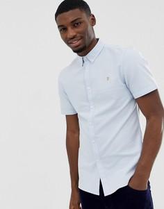 Голубая приталенная оксфордская рубашка с короткими рукавами Farah Brewer - Синий