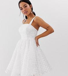 Белое фактурное платье мини для выпускного с квадратным вырезом Dolly & Delicious Petite - Оранжевый