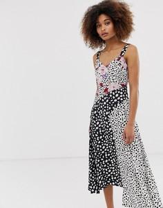 Платье миди в горошек на бретельках с асимметричным краем и цветочным принтом Neon Rose - Мульти