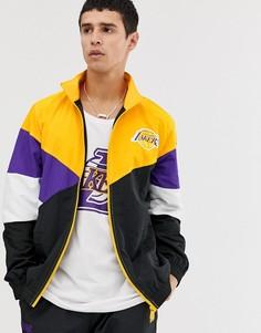 Черная спортивная куртка колор блок в стиле ретро New Era NBA LA Lakers - Черный