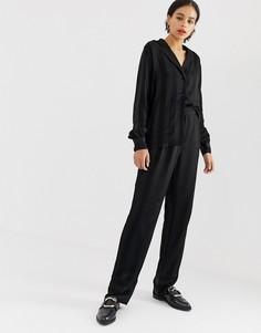 Жаккардовые брюки в полоску Minimum - Черный