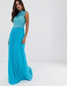 Платье макси с кружевом и высоким воротом Jovani - Синий