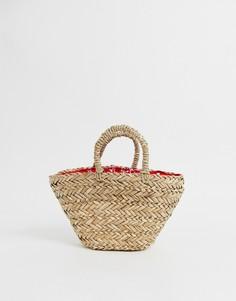 Маленькая соломенная сумка естественного цвета с платочным принтом на подкладке ASOS DESIGN - Коричневый