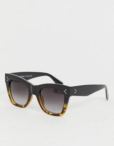 Черные квадратные солнцезащитные очки oversize с черепаховым узором AJ Morgan - Черный
