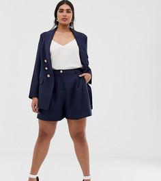 Удлиненные темно-синие шорты с завышенной талией Lovedrobe - Белый