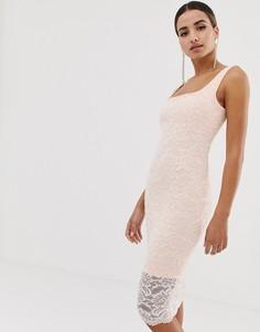 Кружевное облегающее платье с квадратным вырезом и фигурным краем Vesper - Розовый