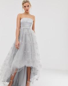 Серебристое платье макси для выпускного с лифом бандо Dolly & Delicious - Серебряный