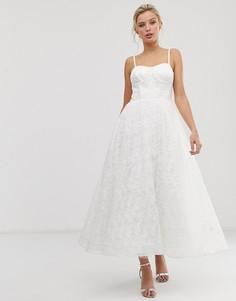 Белое кружевное платье миди с вышивкой на лифе Dolly & Delicious - Белый