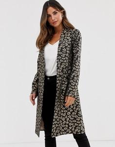 Легкое пальто без застежки с леопардовым принтом Helene Berman - Коричневый