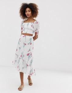 Комбинируемая асимметричная юбка миди с винтажным цветочным принтом Neon Rose - Белый