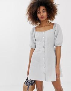 Чайное платье в клеточку на пуговицах с пышными рукавами Neon Rose - Серый