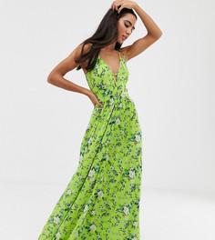 Платье макси на бретелях с цветочным принтом ASOS DESIGN - Мульти