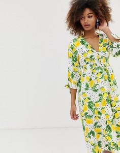 Чайное платье миди с принтом лимонов Neon Rose - Желтый