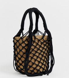 Эксклюзивная соломенная сумка с короткими ручками My Accessories London - Мульти