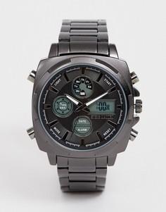 Электронные часы с металлическим корпусом Steve Madden - Черный